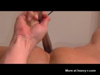 Ass eating heavy steeldildo