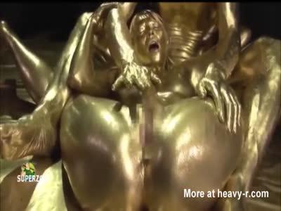 Gold Painted Asian Slut Abused