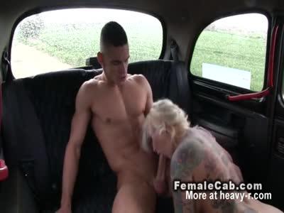 Busty Tattooed Blonde Fucks In Cab