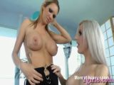 Lustful blonde tranny got a blowjob then pounded in the ass