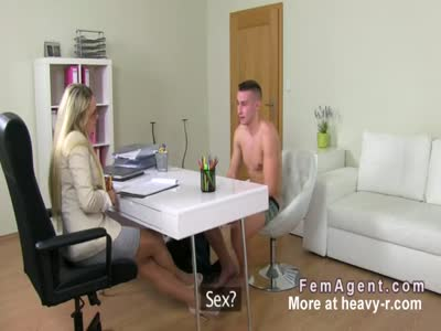 Female agent recording sex in an office