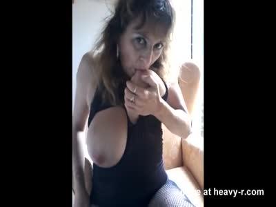 Sucking Her Own Milk Tits