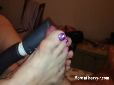Footjob Ends With Sticky Feet