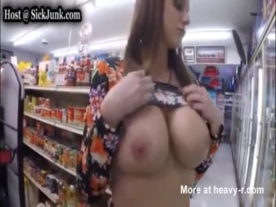 Stoned Mom Flashing Tits In Supermarket