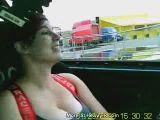 Big tits in drifting car