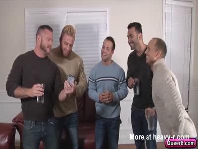 Hot five man gay ass fuck orgy