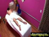 Blonde asian babe gives massage