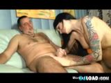 Tattooed Whore With Old Guy