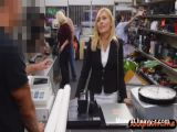 Hot blonde MILF in office attire gets banged in the pawnshop