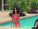 Bikini latina teen hot streaptease by the pool