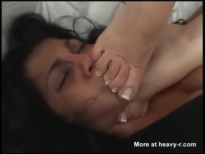 Chick Smothered By Hand And Feet