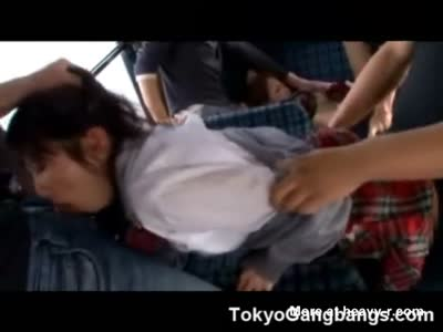 Helpless Asian Teens Gangbanged In Bus