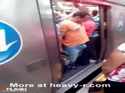 Dick Jammed In Subway Door