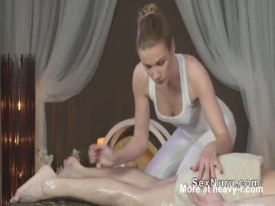 Masseuse rides and sucks oiled cock till cumshot