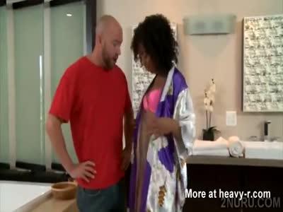 Hot ebony gives a kinky Nuru massage to lucky bald man