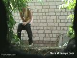 Spy camera  catches girl pissing outdoor