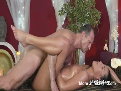 Oiled Brunette Fucked On Massage