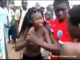 Girls from Ivory Coast fight topless in the street