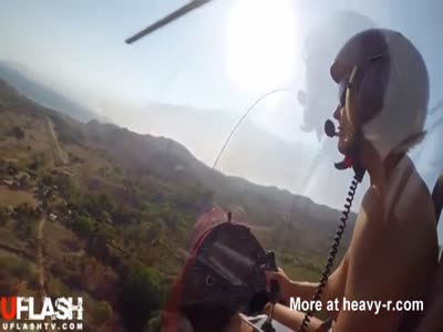 Naked Blonde Flies Gyrocopter
