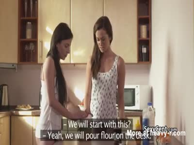 Lesbians making dinner and fucking