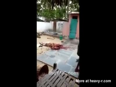 Man Throws With Womans Head After Beheading