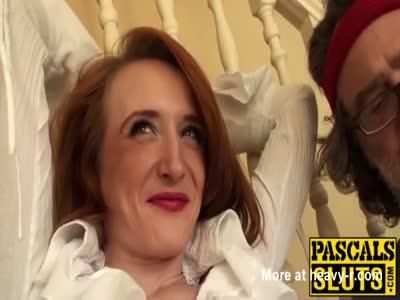Redhead slut Sabrina Jay deepthroats before hard fucking