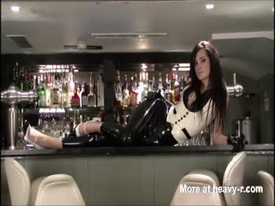 Sexy Barmaid In Latex