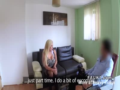 Hot busty blonde escort Milf in casting fuck