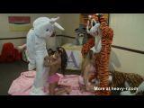 Blowing stuffed animals