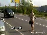 Drunk Russian woman naked in public