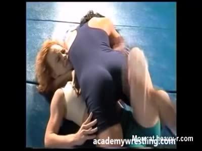 strap-on dildo sex between Lesbian on Academy Wrestling