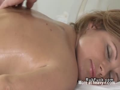 Hairy pussy hottie fucked after massage