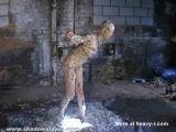 Bizarre asian humiliation of Kumimonster in dungeon bondage