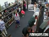 Ebony hunk tries to sell a bike at the pawn shop