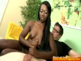 Ebony Babe Giving Handjob