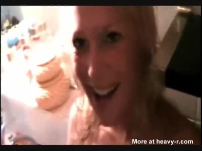 Blonde Beauty loves tasting cum