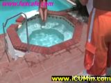 Brunette Pornstar Cumshot near pool