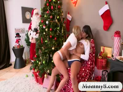 Kinky mature stepmom amazing threesome sex with Santa