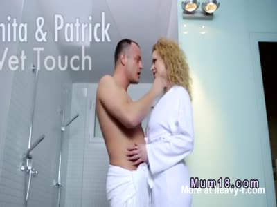 Curly blonde mom fucks in shower