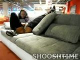 Nasty Skank Pisses all Over Couch In Store