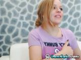 Pretty Blonde Plays with a Huge Dildo