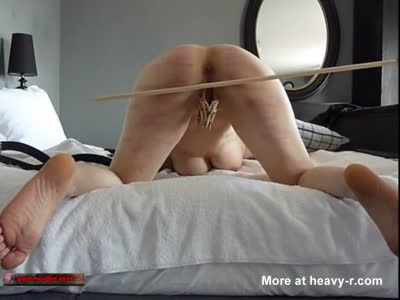 Slut Pussy Clamped And Caned