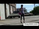 Skinny Girl In Leggings Gets Sharked