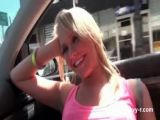 Blonde in glasses flashing big tits in the car