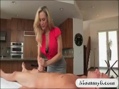 Busty MILF Brandi Love threesome session on massage table