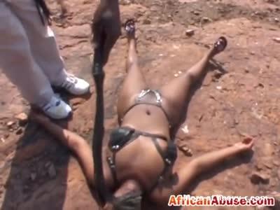 African Teen Abused Outdoor