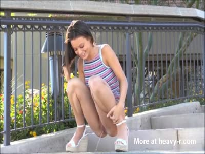 Gorgeous Brunette Pissing In Public
