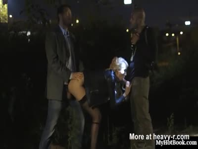Blonde Whore Group Fucking In Public