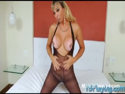 Huge boobs blonde shemale takes hard dick in her bubble butt