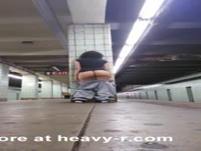 Flashing Ass In Metro Station